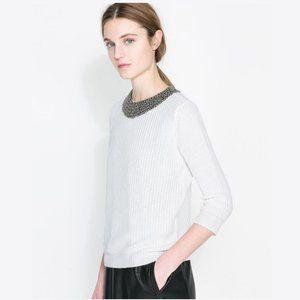 ZARA Off-White Angora Sweater with Beaded Neckline